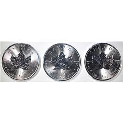 3-GEM BU 2014 CANADIAN 1oz SILVER MAPLE LEAF COINS