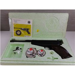 FEINWERKBAU AIR PISTOL MODEL 65 CAL. 4, 5/.177. IN FOAM CONTAINER WITH INSTRUCTIONS