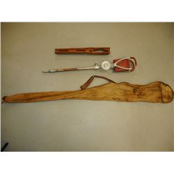 WOODEN GUN STOCK, GUN REST AND SOCK TYPE RIFLE CASE