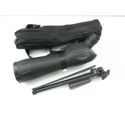 BUSHMASTER SPOTTER 20-60X60 SCOPE WITH FLIP LENS CAP IN BLACK SOFT CANVAS BAG. WITH TRI POD