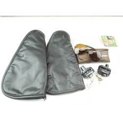 SOFT LEATHER HAND GUN CASES, TRIGGER LOCKS AND SAFETY GLASSES