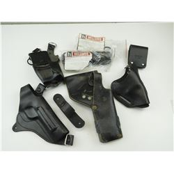 ASSORTED LEATHER HOLSTERS/HOLDERS