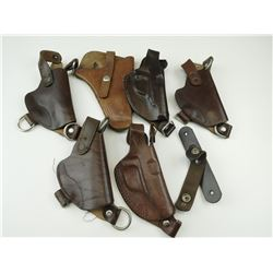 ASSORTED BROWN LEATHER HOLSTERS