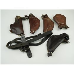 ASSORTED BROWN LEATHER HOLSTERS & SLING
