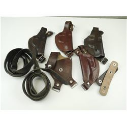 ASSORTED BROWN LEATHER HOLSTERS & SLINGS