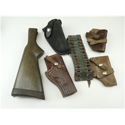 ASSORTED LEATHER HOLSTERS, CARTRIDGE SLEEVE & WOODEN BUTT STOCK
