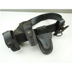 LEATHER POLICE BELT WITH HOLSTERS