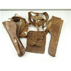 ASSORTED BROWN HOLSTERS AND SLINGS