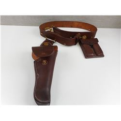 BROWN LEATHER HOLSTER WITH ATTTACHED BELT AND MAGAZINE HOLDER
