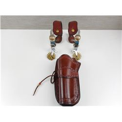 BROWN DECORATIVE HOLSTER AND SPURRS