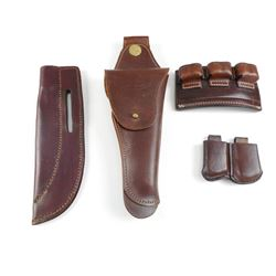ASSORTED BROWN LEATHER HOLSTERS AND MAGAZINES