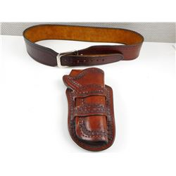 BROWN LEATHER HOLSTER AND BELT
