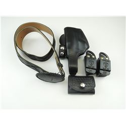 BLACK LEATHER BELT, HOLSTER AND POUCHES