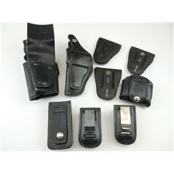ASSORTED BLACK LEATHER HOLSTERS AND MAGAZINE HOLDERS