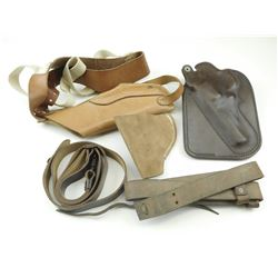 ASSORTED BROWN LEATHER HOLSTERS AND SLINGS