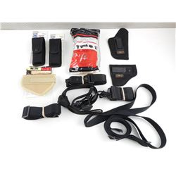 ASSORTED BLACK HOLSTERS AND SLINGS