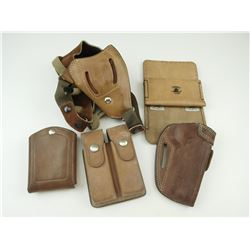 ASSORTED BROWN LEATHER HOLSTERS AND MAGAZINE HOLDERS