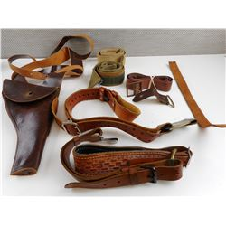 ASSORTED HOLSTER, SLINGS AND AMMO BELTS