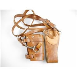 LEATHER GUN SLING WITH SHOULDER HARNESS