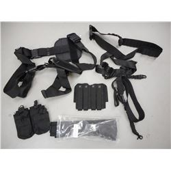 NCSTAR HOLSTER BELT, MAGAZINE HOLDERS, AND ASSORTED SLINGS