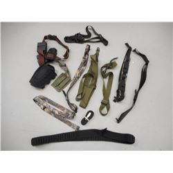 HOLSTER AND MAGAZINE BELT, SLINGS AND ASSORTED POUCHES