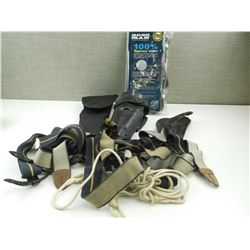 ASSORTED BLACK HOLSTERS, GLOVES AND SUSPENDERS