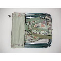 FOLDABLE CAMO PATTERN CAMPING TYPE CHAIR WITH BACK REST AND ATTACHED POUCH