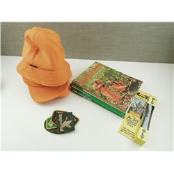 ASSORTED HUNTING HATS, DUCK CALLS, BOOKS AND BADGES