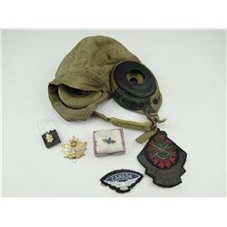 ASSORTED CANADIAN MILITARY BADGES & PINS. AND FLYING HAT.