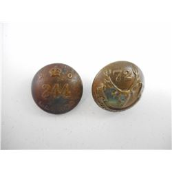 WW1 C.E.F. 244 BATTALION BRASS BUTTON AND WWI C.E.F. 72 HIGHLANDERS BRASS BUTTON