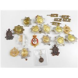 ASSORTED VRI AND RCR CAP BADGES
