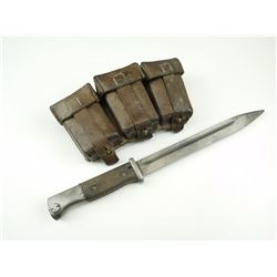 WWII GERMAN K98 MAUSER BAYONET & LEATHER AMMO POUCH