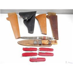 ASSORTED POCKET KNIVES, FIXED BLADES AND HOLSTERS