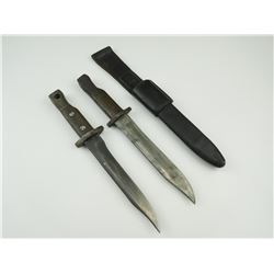 ROSS RIFLE BAYONETS CONVERTED TO HUNTING KNIVES WITH (1) SCABBARD