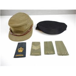 ASSORTED MILITARY CAPS AND BADGES