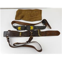 MILITARY TYPE LEATHER BELT & BREECH COVER