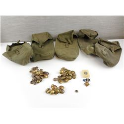 ASSORTED CANADIAN MILITARY AND WWII GERMAN BUTTONS AND POUCHES
