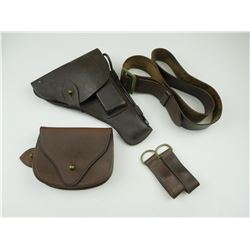 ASSORTED MILITARY TYPE HOLSTERS, POUCH AND BELT