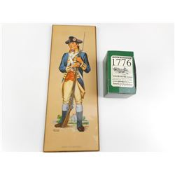 AMERICAN REVOLUTIONARY WAR PAINTING & MINIATURE FIGURINE IN BOX