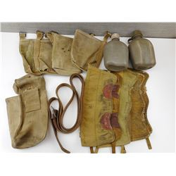 ASSORTED MILITARY POUCHES & GAITERS WITH LEATHER BELT & CANTEENS
