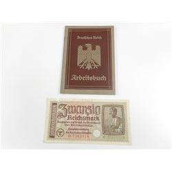 PRE WWII GERMAN EMPLOYMENT RECORD BOOKLET & WWII GERMAN 20 REICHSMARK BANKNOTE
