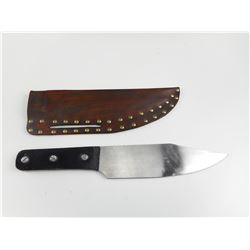 FIXED BLADE KNIFE WITH LEATHER SHEATH