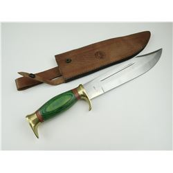 BOWIE TYPE KNIFE WITH LEATHER SHEATH