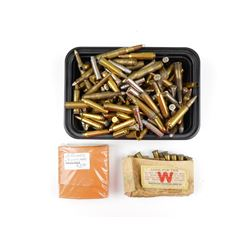 ASSORTED RIFLE & HANDGUN AMMO, FACTORY AND RELOADED, BRASS