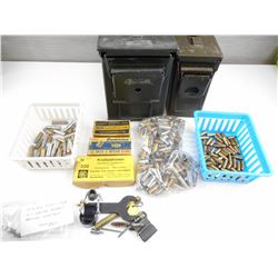 32 S & W, 32 COLT, 38 SPECIAL ASSORTED AMMO, METAL AMMO TINS, FIREARM PARTS