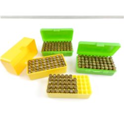 9MM ASSORTED AMMO, SOME IN PLASTIC AMMO CASES