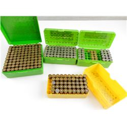 38 SPECIAL RELOADED AMMO IN PLASTIC CASES, PRIMED BRASS CASES