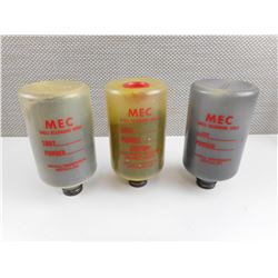 MEC SHELL RELOADING BOTTLES, FILLED WITH SHOT AND POWDER