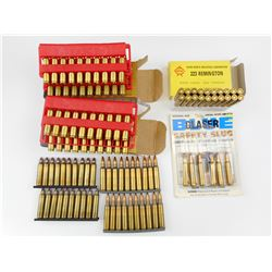 223 REMINGTON ASSORTED AMMO, BLANKS, SOME ON STRIPPER CLIPS