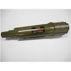 CANADIAN MILITARY 84 MM CAL GUSTAV FIRED CASING, PLASTIC CARRYING CASE.